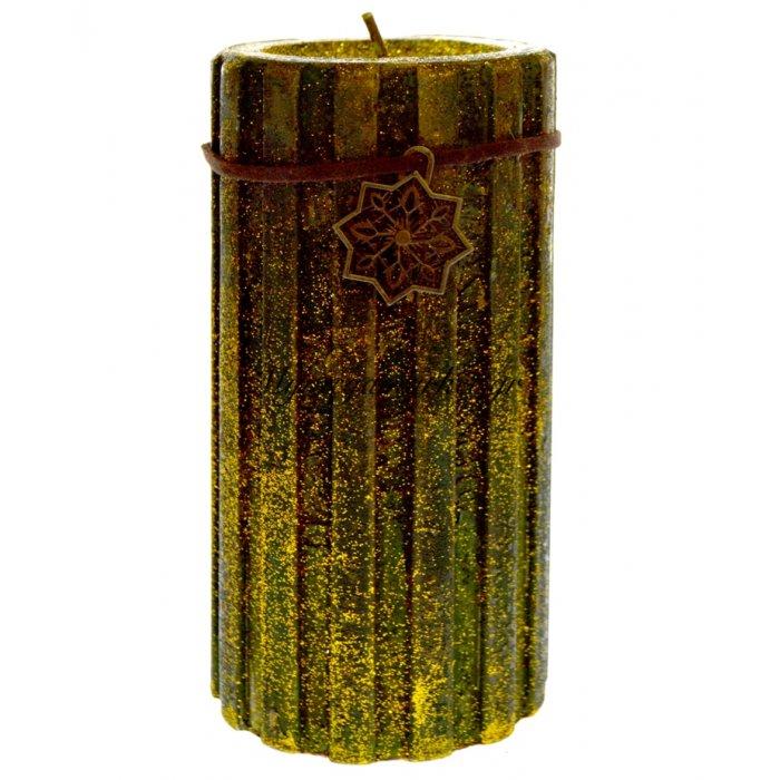 Κερί χριστουγεννιάτικο σε χρυσό-πράσινο χρώμα 19 x 8 cm | Mymegamarket.gr