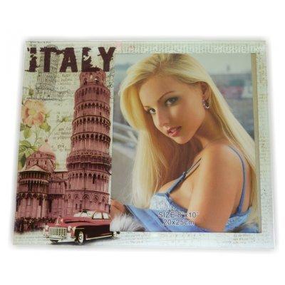 Κορνίζα γυάλινη με θέμα ITALY 13 x 18 cm