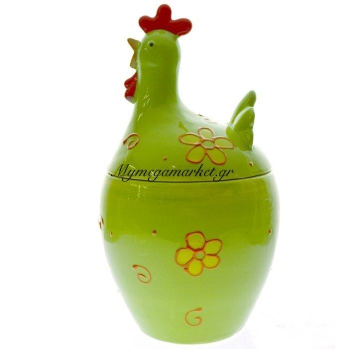 Κότα πορσελάνινη μεγάλη με καπάκι σε πράσινο χρώμα | Mymegamarket.gr