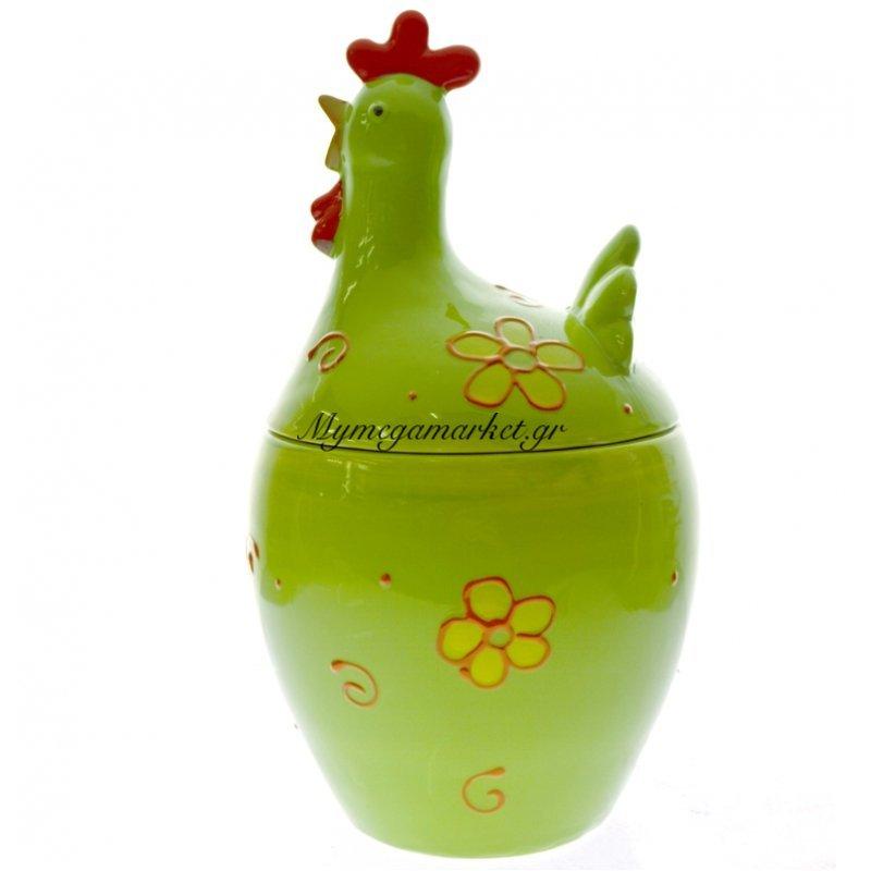 Κότα πορσελάνινη μεγάλη με καπάκι σε πράσινο χρώμα by Mymegamarket.gr
