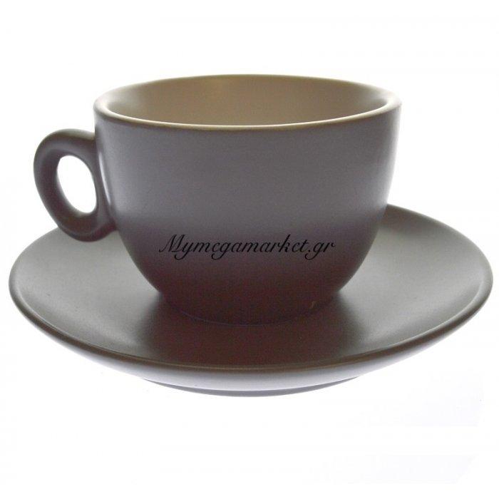 Κούπα τσαγιού σετ 6 τεμαχίων σε γκρί με κρέμ χρώμα Happy ware | Mymegamarket.gr