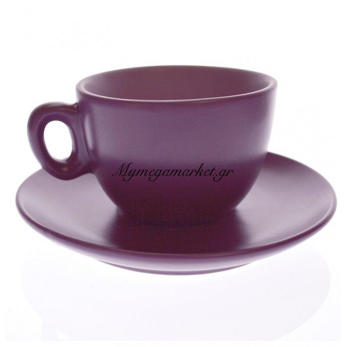 Κούπα τσαγιού σετ 6 τεμαχίων σε μώβ με λιλά χρώμα Happy ware | Mymegamarket.gr