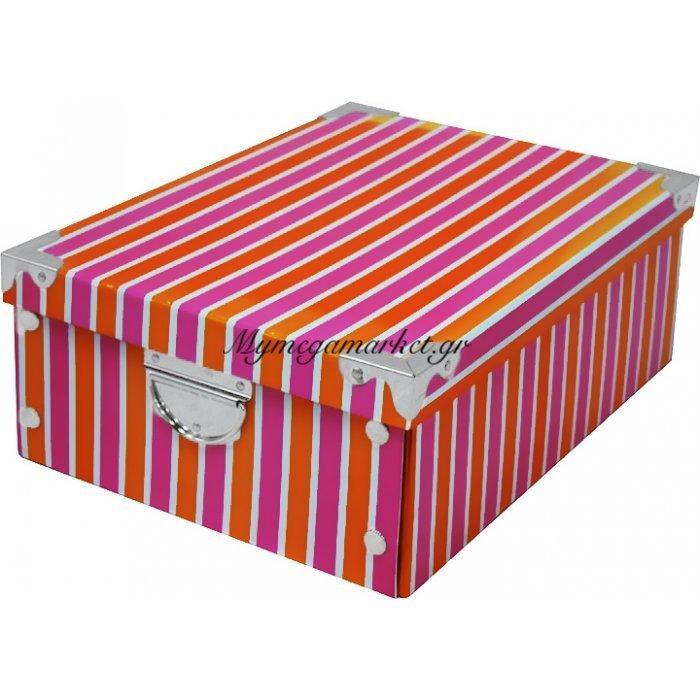 κουτί αποθήκευσης από χαρτόνι υψηλής ποιότητας με ρίγες πορτοκαλί - ρόζ & μεταλλικά χερούλια | Mymegamarket.gr