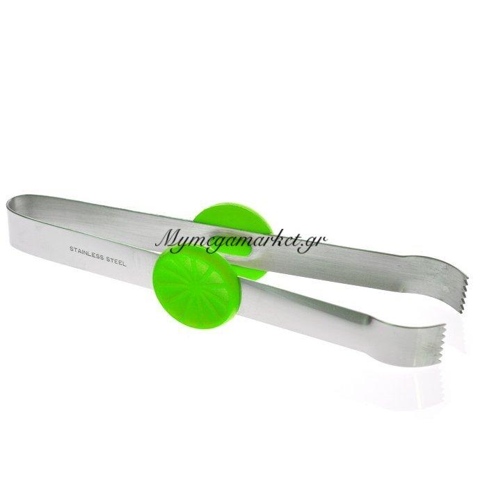 Λαβίδα πάγου ανοξείδωτη FUSION με πράσινο decor | Mymegamarket.gr