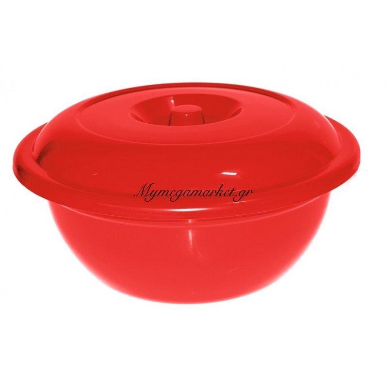 Λεκάνη με καπάκι πλαστική Νο 452 σε κόκκινο χρώμα