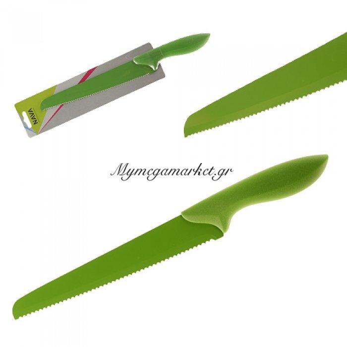 Μαχαίρι ψωμιού ατσάλινο με αντικολλητική βαφή χερούλι σμάλτο σε πράσινο χρώμα Nava | Mymegamarket.gr