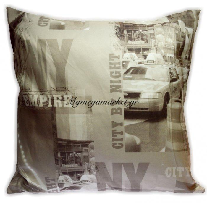 Μαξιλάρι διακοσμητικό σχέδιο NEW YORK 45x 45 cm   Mymegamarket.gr