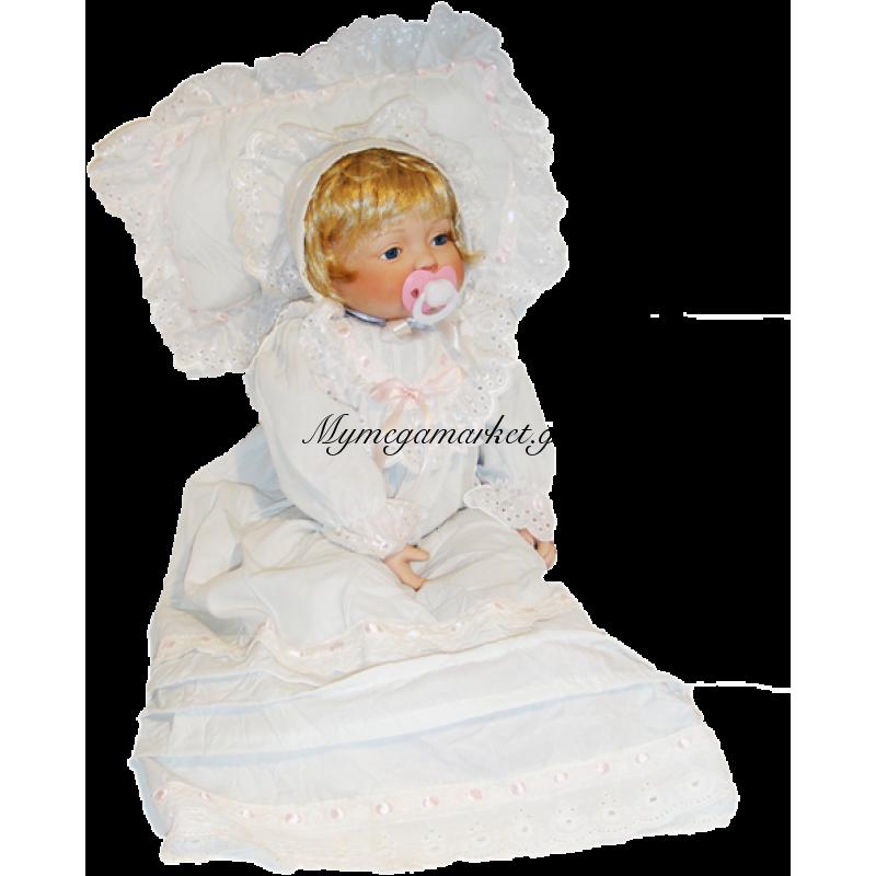 Μωρό απο πορσελάνη με πιπίλα και μαξιλάρι ύπνου