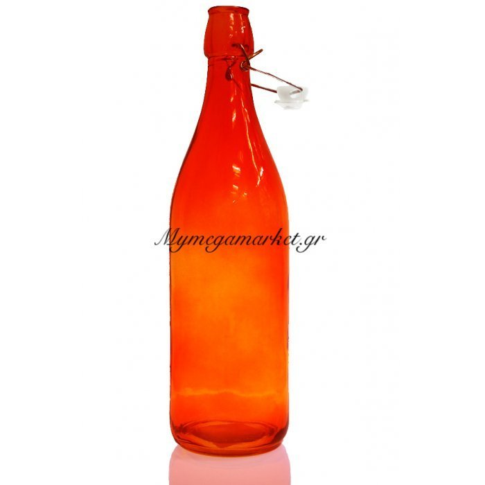 Μπουκάλι γυάλινο στρογγυλό σε πορτοκαλί χρώμα αεροστεγή 1 λίτρο | Mymegamarket.gr