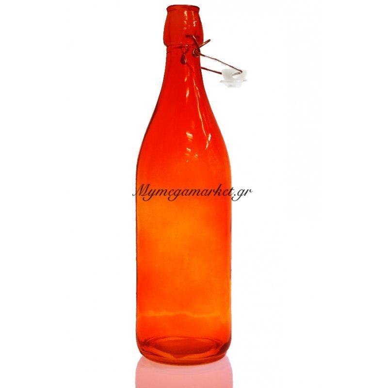 Μπουκάλι γυάλινο στρογγυλό σε πορτοκαλί χρώμα αεροστεγή 1 λίτρο