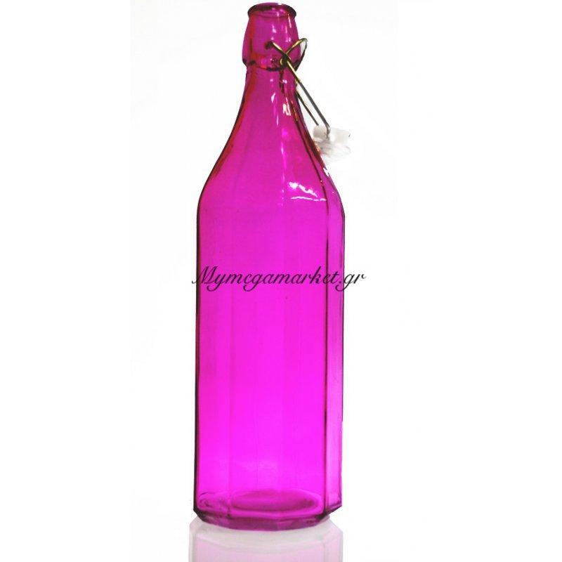 Μπουκάλι πολυγωνικό γυάλινο σε φούξια χρώμα αεροστεγή 1 λίτρο
