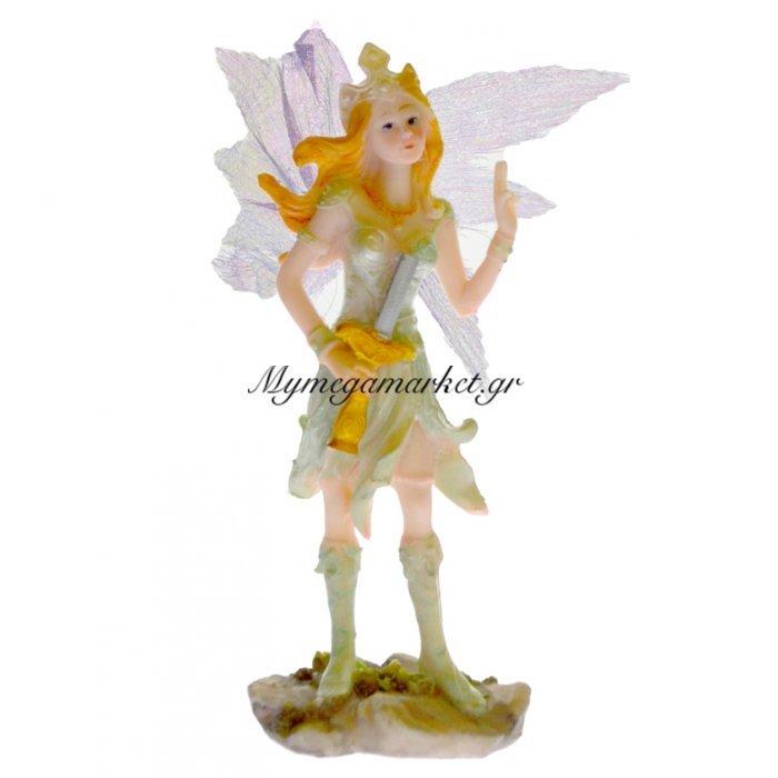Νεράιδα κεραμική με σπαθί υφασμάτινα φτερά πράσινη φορεσιά | Mymegamarket.gr