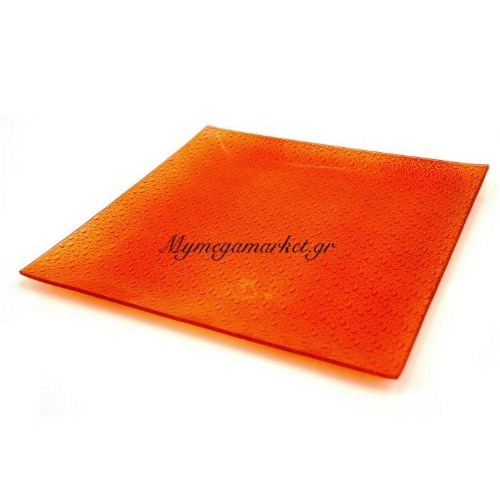 Πιατέλα γυάλινη τετράγωνη πορτοκαλί σε 2 μεγέθη | Mymegamarket.gr