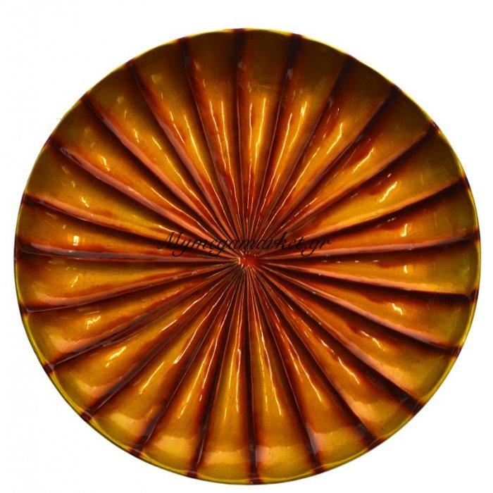 Πιατέλα κεραμική διακοσμητική σε πορτοκαλί - χρυσό | Mymegamarket.gr