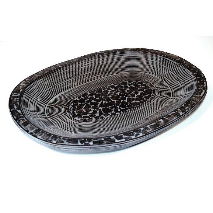 Πιατέλα ξύλινη με σκάλισμα σε 2 μεγέθη | Mymegamarket.gr