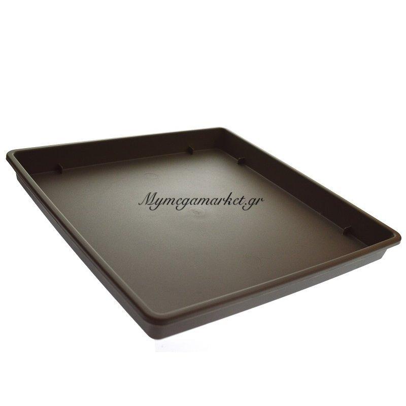 Πιάτο γλάστρας Linea τετράγωνο χρώμα καφέ-μπρονζέ σε 3 διαστάσεις