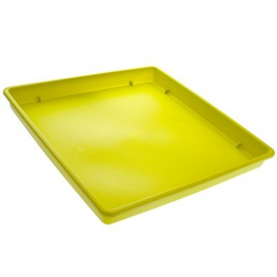 Πιάτο γλάστρας Linea τετράγωνο χρώμα λαχανί σε 3 διαστάσεις