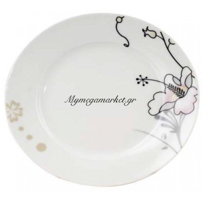 Πιάτο ρηχό πορσελάνινο με σχέδιο λουλούδι | Mymegamarket.gr