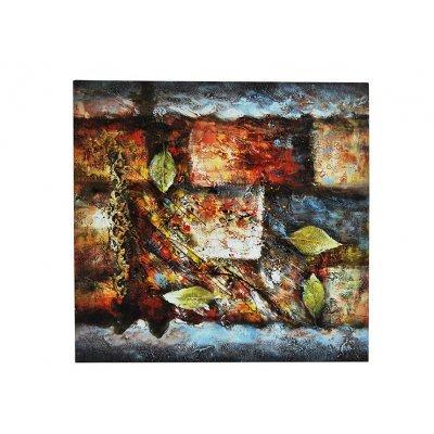 Πίνακας καμβάς με λαδομπογιά αφηρημένος με φύλλα
