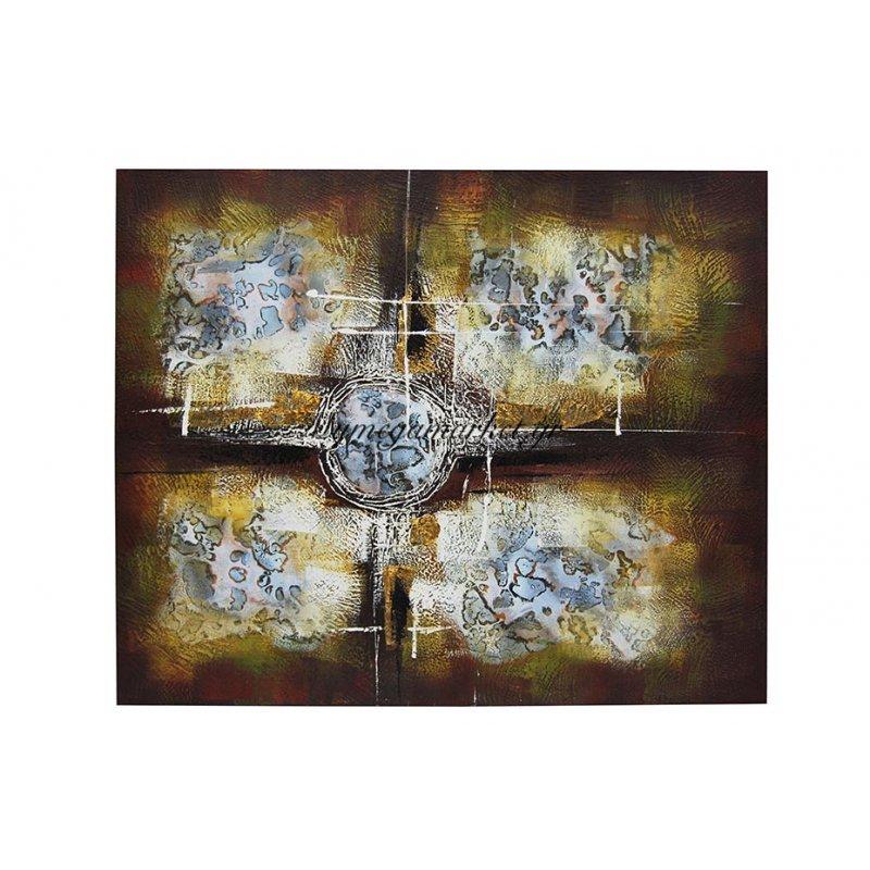 Πίνακας καμβάς με λαδομπογιά καφέ αφηρημένος