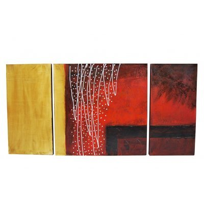 Πίνακας καμβάς με λαδομπογιά σετ 3 τεμ σχέδιο χρυσό - μπορντώ 120 x 80 cm
