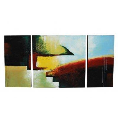 Πίνακας καμβάς με λαδομπογιά σετ 3 τεμ σχέδιο γαλάζιο-κυπαρισσί-μπέζ 120 x 80 cm