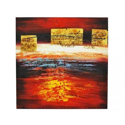 Πίνακας τετράγωνος με λαδομπογιά σε καμβά αφηρημένος