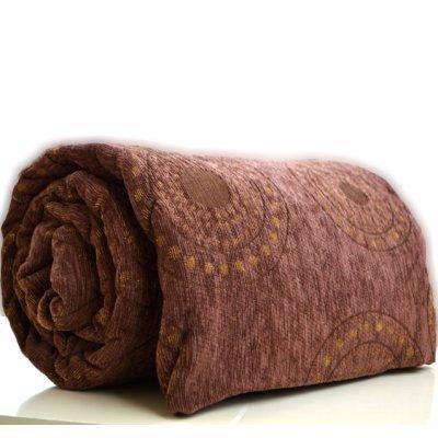 Ριχτάρι πολυεστερικό σενίλ για διθέσιο 180 x 230 cm σε καφέ χρώμα