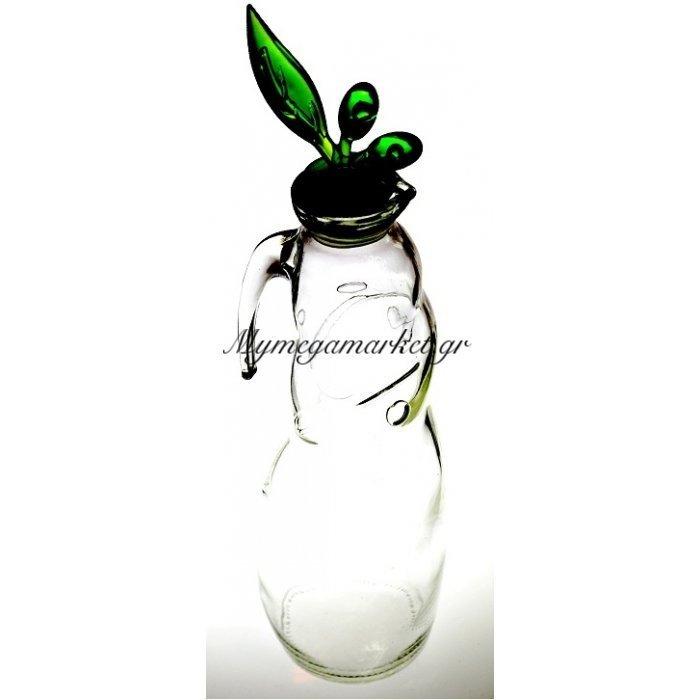 Ρoή λαδιού γυάλινη με ακρυλίκο πράσινο καπάκι | Mymegamarket.gr