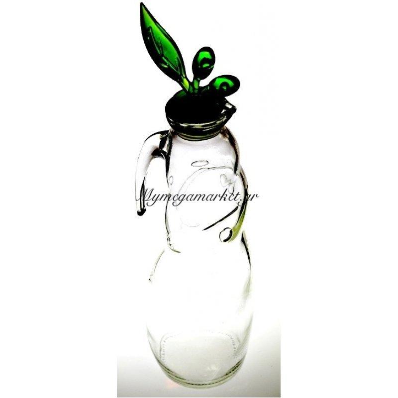Ρoή λαδιού γυάλινη με ακρυλίκο πράσινο καπάκι