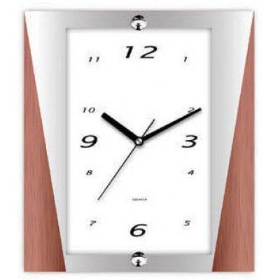 Ρολόι τοίχου με ασημί και καφέ λεπτομέρεια στο πλαίσιο