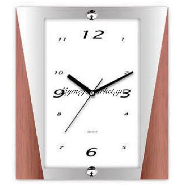 Ρολόι τοίχου με ασημί και καφέ λεπτομέρεια στο πλαίσιο | Mymegamarket.gr