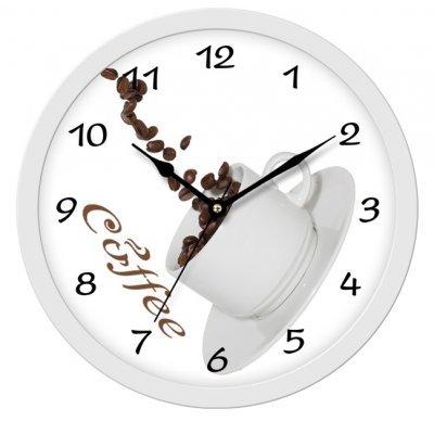 Ρολόι τοίχου στρογγυλό λευκό φόντο με σχέδιο κούπα του καφέ και πλαίσιο ασημί