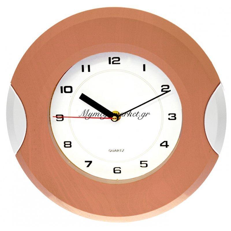 Ρολόι τοίχου στρογγυλό με καφέ και ασημί λεπτομέρεια στο πλαίσιο