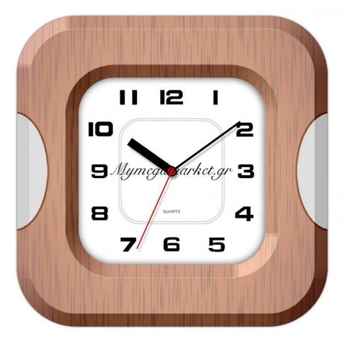 Ρολόι τοίχου τετράγωνο με καφέ & ασημί λεπτομέρεια | Mymegamarket.gr