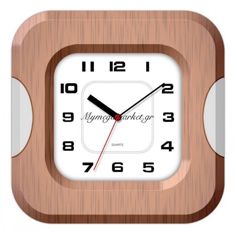 Ρολόι τοίχου τετράγωνο με καφέ & ασημί λεπτομέρεια
