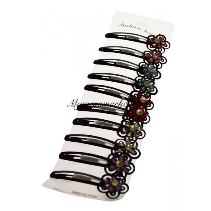 Σέτ 10 τμχ κλίπς μαλλιών με στράς σχέδιο λουλούδι | Mymegamarket.gr