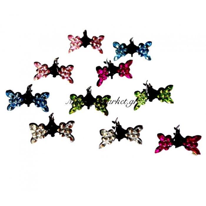 Σέτ 10τμχ κλάμερ μικρά με στράς σχέδιο πεταλούδα | Mymegamarket.gr
