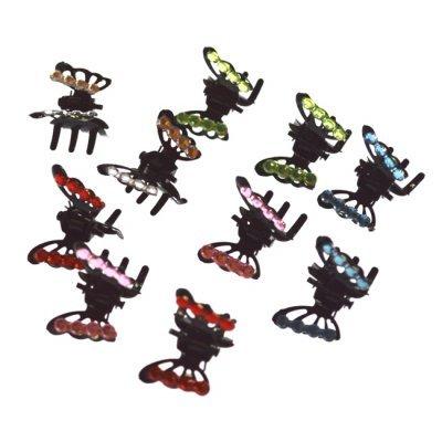 Σέτ 10τμχ κλάμερ μικρά με στράς σε σχέδιο πεταλούδας