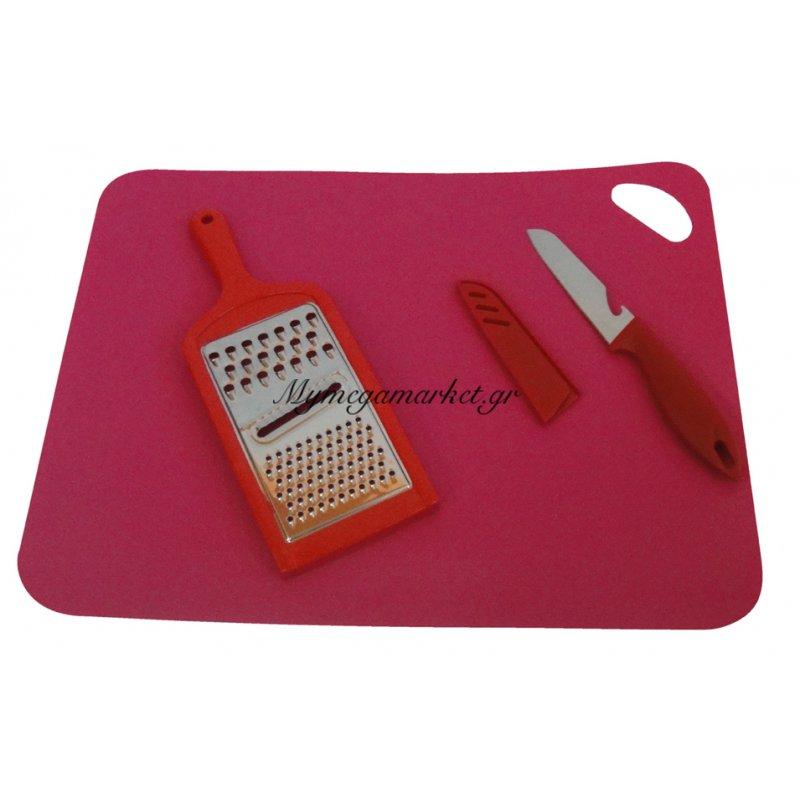 Σετ 3 τεμαχίων σουπλά αντιβακτηριακό με τρίφτη & μαχαίρι κουζίνας