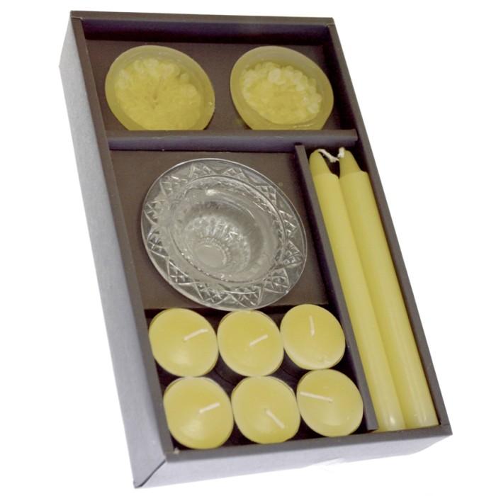 Σέτ κηροπήγιο γυάλινο με 10 διάφορα κεριά σε μπέζ χρώμα | Mymegamarket.gr