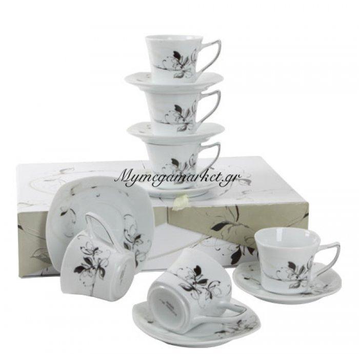 Σετ κούπες & πιάτα πορσελάνινα με πλατίνα 6 τμχ - λουλούδι | Mymegamarket.gr