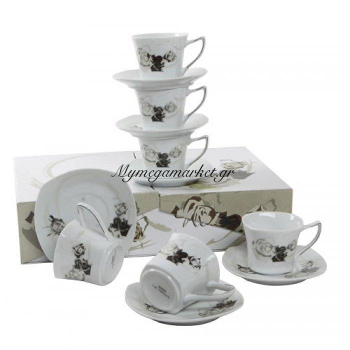 Σετ κούπες & πιάτα πορσελάνινα με πλατίνα 6 τμχ - τριαντάφυλλο | Mymegamarket.gr