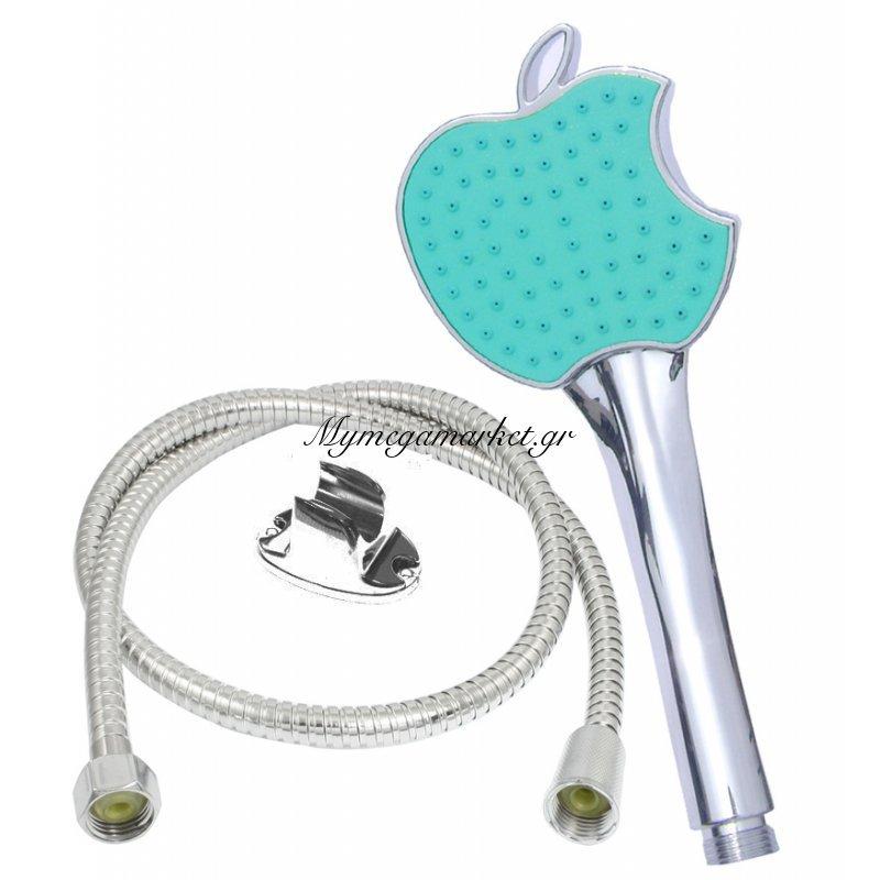 Σέτ τηλέφωνο για ντούζ με σπιράλ Apple σε γαλάζιο χρώμα