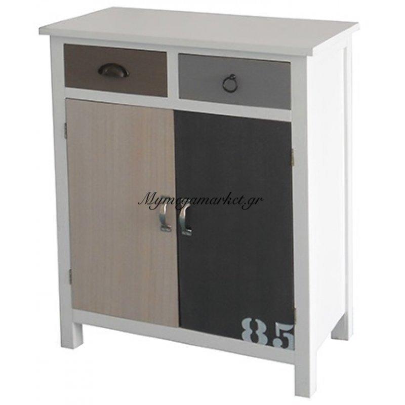 Συρταριέρα ξύλινη λευκή με ντουλάπια & συρτάρια Nava