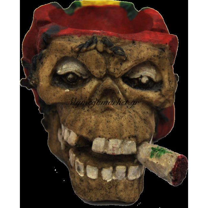 Τασάκι κεραμικό νεκροκεφαλή με κόκκινο | Mymegamarket.gr