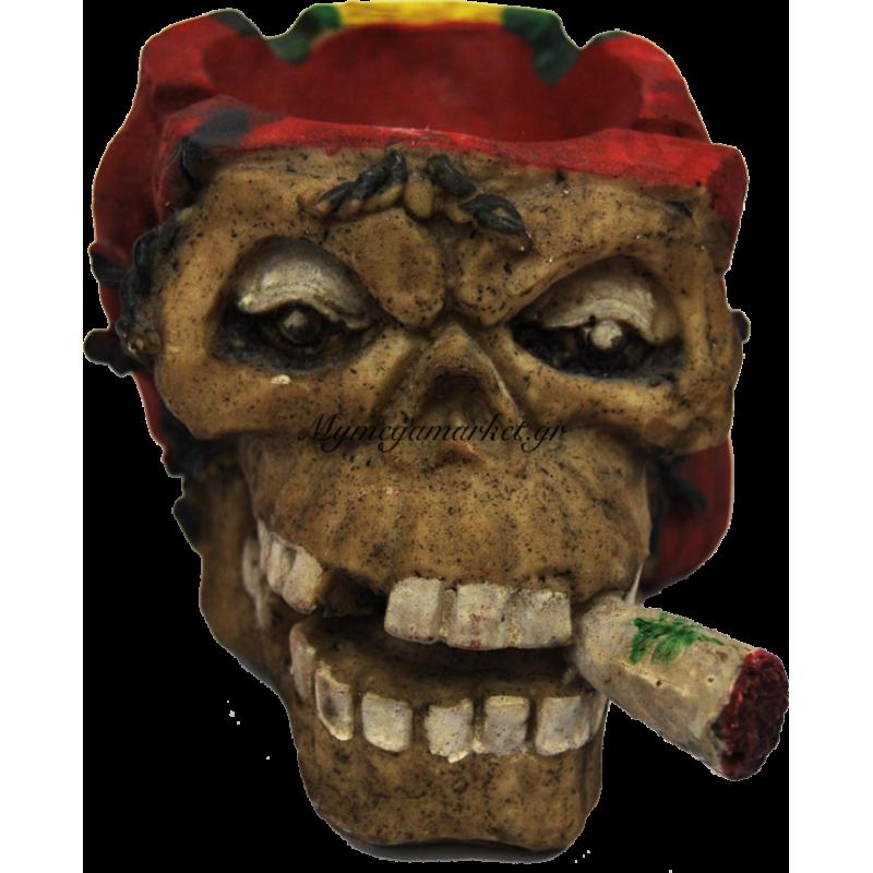 Τασάκι κεραμικό νεκροκεφαλή με κόκκινο