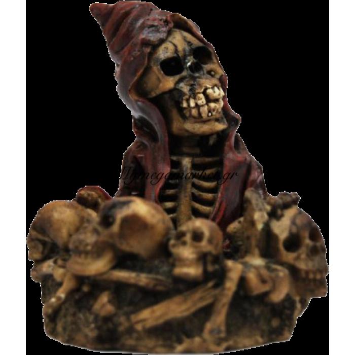 Τασάκι κεραμικό νεκροκεφαλή με μπορντώ φορεσιά | Mymegamarket.gr