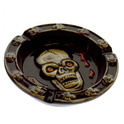 Τασάκι μαύρο πορσελάνινο με νεκροκεφαλή