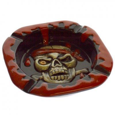 Τασάκι τετράγωνο με νεκροκεφαλή πειρατή κόκκινο - μάυρο